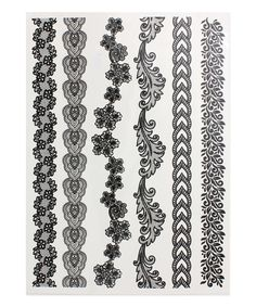 Black Thin Lace Bracelet Temporary Tattoo Set