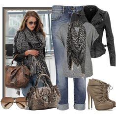 Love the boots & the look, but I'd rather a asymmetrical cowl neck leather jacket
