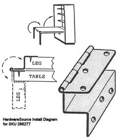 Leg Hinge For Drop Panel Wall Unit For The Fold Down Table