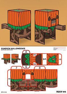 Printable Halloween Skeleton Paper Toy Craft - Fold Up Toys, Pumpkin