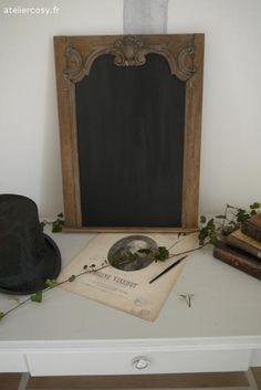 Boiserie ancienne devenue tableau noir  Brocante de charme atelier cosy.fr