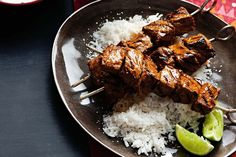 Serve tandoori beef skewers with coconut rice and raita for an authentic Indian weeknight dinner. Indian Cookbook, Vegan Cookbook, Easy Indian Recipes, Ethnic Recipes, Beef Skewers, Fried Fish Recipes, Indian Kitchen, Coconut Rice, India Food