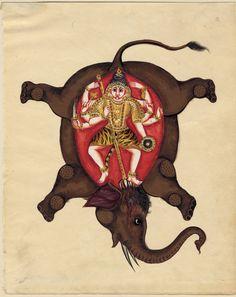 The Hindu god Shiva slaying the elephant demon. c. approx. 1850. India; Mysore; Karnataka state. Details of story here: https://en.wikipedia.org/wiki/Gajasurasamhara.