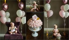 Pink & gold cupcake, smash cake from the Handmade Cake Company. Photographer: Erin Shepley Photography