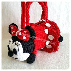 Minnie Mouse with skirt  Handmade crochet handbag  birthday