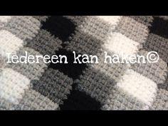 Iedereen kan haken© Entrelac Tunisch DIY blokjesdeken zwart wit grijs, Nederlands voor beginners - YouTube