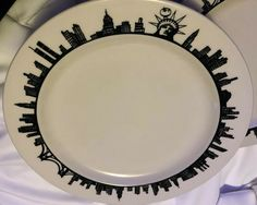 "VTG 7 HOMER LAUGHLIN NYC PLATES 11"" Skyline Statue Liberty Big Apple Twin Towers  