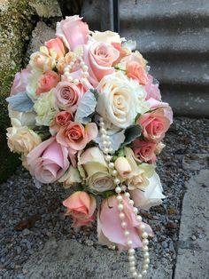 soft pastel cascade bridal bouquet by Furst #FurstEvents #daytonweddings