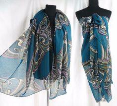 US SELLER-vintage inspired boho wavy print maxi scarves sarong fashion apparel   eBay