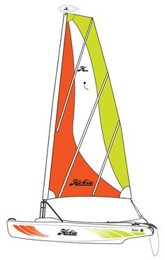 Hobie Bravo Catamaran Sailboat The Bravo is ideal for sailors of all skill levels. Stable and safe for the total novice yet plenty entertaining for a seasoned multi-huller on a storm-tossed day. The Hobie Bravo provides the perfect s Small Sailboats, Sailing Catamaran, Under Decks, Color Stripes, Your Smile, Outdoor Gear, Sailor, Waves, Club