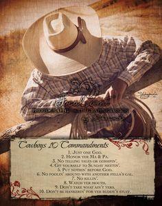 Cowboy Reason -Cowboys 10 Commandments 11x14 Art Print by Shawnda Eva