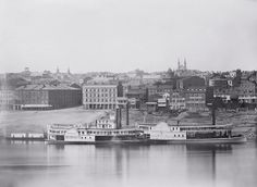 ...Cincinnati, OH, in 1848...taken in the fall, on a Sunday...  Historians determined the season by the water level of the Ohio, the year by the boats, and the day by the quiet of the levee....one plate of a panoramic series...