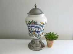 French Vintage Large Ceramic and Pewter by SouvenirsdeVoyages, $60.00
