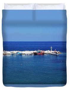 Fishermans Duvet Cover featuring the photograph Fishermans Boats by Helga Preiman #HelgaPreiman #DuvetCovers #FishermansBoats #ArtForHome #FineArtPrints