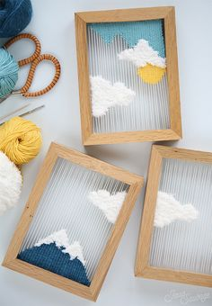 DIY Weaving: Small woven landscapes (+ COMPETITIONS: your seats for the CSF Salon!) – Visit our site for the most beautiful diy projects Kids Crafts, Yarn Crafts, Diy And Crafts, Teen Summer Crafts, Modern Crafts, Etsy Crafts, Teen Girl Crafts, Arts And Crafts For Teens, Blue Crafts