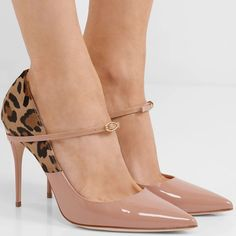 2579c666b2 These 'Lorenzo' pumps are made from glossy beige patent-leather and paneled  with leopard-print calf hair at the back