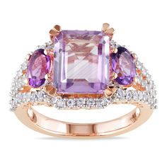 Octagon-cut multi-gemstone ringRose-plated silver jewelryClick here for ring sizing guide