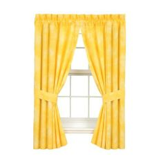 """Banana Yellow - Drapes - 63"""" by All Seasons Bedding. $49.99. 2 Panels. Each panel is 42"""" x 63"""" with a 3"""" header. Drapes are lined.. Fabric is reactive dyed for superior softness and color retention.. 100% Cotton. 250 thread count.. Part of the Tropical Coolers Bedding Collection. 9 colors available. Comforters, Sheets, Accent Pillows, Daybed Sets, and Shower Curtains also available."""