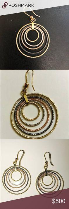 14kt Diamond Cut Hoop Earrings. 14kt Yellow, Black, White & Rose Gold Diamond Cut 4 Circle Earrings. Jewelry Earrings