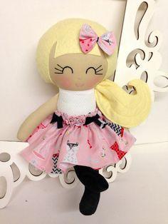 Rag Dolls Handmade Doll Fabric Doll Cloth Doll by SewManyPretties, $45.00 #girlgift #firstbirthdaygirl #girlbabyshower
