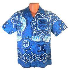 RJC Men's Vintage Hawaiian Shirt Blue White by RedThreadRetro