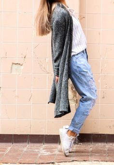 Colour: Charcoal Grey Fabric: Polyester Fit: Super soft touch, black PU leather piping detail on hem, long drape style Lisa is tall and is wearing a size Street Chic, Street Style, Grey Cardigan, Grey Fabric, 30th, Mom Jeans, Collections, Check, How To Wear