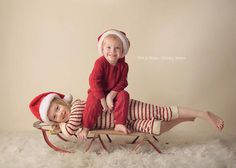 Kids on a sled, Christmas wishes card