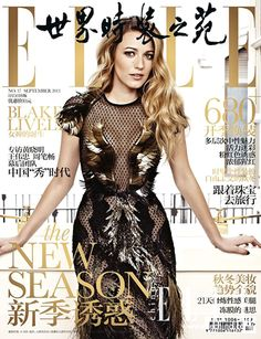 Blake Lively, Elle China from 2013 September Issues  The actress, who also covers Lucky's September issue, wows on this edition of Elle China in an intricate feathered-and-netted Gucci dress.