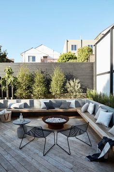 Backyard Patio Designs, Small Backyard Landscaping, Backyard Ideas, Backyard Pools, Concrete Backyard, Garden Ideas, Back Garden Design, Terrace Garden Design, Small Courtyard Gardens
