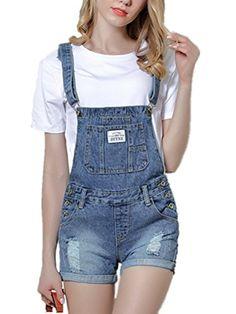YIFAN DREAM Damen Sommer Jeans-Latzhose Shorts Jeans Hotpants Crimpen  Destroyed Jeanshose Freizeithose Jumpsuit Kurz Overall Denim Ripped  Playsuit ... 0c697899b5