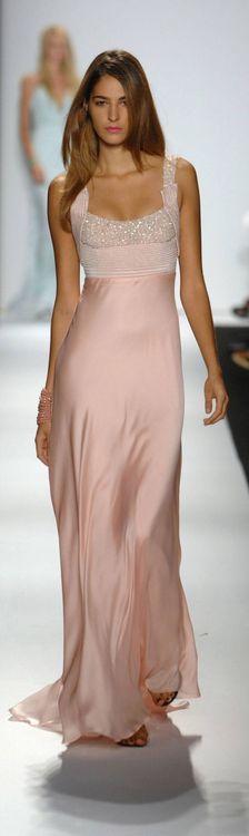 Beading long pink dress