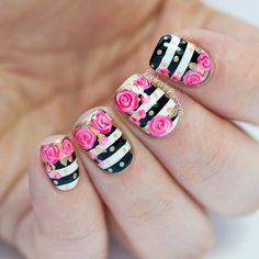 Black and White Striped Nails With Gold Polka Dots and Pink Roses