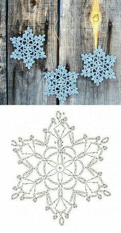 Wonderful DIY Crochet Snowflakes With Pattern - Her Crochet Crochet Snowflake Pattern, Christmas Crochet Patterns, Crochet Christmas Ornaments, Crochet Stars, Holiday Crochet, Crochet Snowflakes, Christmas Star, Christmas Knitting, Christmas Snowflakes