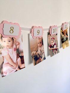Ersten Geburtstag Mädchen Dekorationen. 12-Monats-Foto Wand