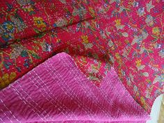 Indian Kantha Quilt Indian Paradise Printed Cotton Handmade Bedspread Blanket #Handmade #Traditional