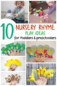 Nursery Rhyme Play Ideas Simple ideas for playing inspired by classic nursery rhymes for toddlers and preschoolers. Find these 10 (plus a few more) toddler activities that you and they will love to do together. Nursery Rhyme Crafts, Nursery Rhymes Preschool, Nursery Rhyme Theme, Classic Nursery Rhymes, Preschool Songs, Toddler Preschool, Preschool Crafts, Nursery Rhymes For Toddlers, Diy Crafts