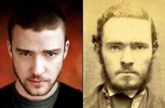 Celebrities And Their Historical Doppelgangers  Here's Justin Timberlake, who uncannily resembles this old-time criminal in a mug shot.