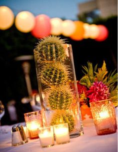 For our Mexico City themed table. Cactus Centerpiece - very cool for margarita party! Mexican Fiesta Party, Fiesta Theme Party, Party Themes, Wedding Themes, Party Ideas, Spanish Party Decorations, Wedding Ideas, Mexican Menu, Mexican Spanish