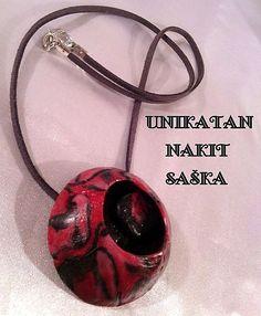 """Cold porcelain by Saska Necklace """"BLACK AND RED BALL"""" - š. og114"""