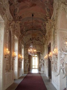 Satyr Cabinet Hallway  Ludwigsburg Palace  This hallway is decorated in ornate stucco work and sculptures in the Baroque style.