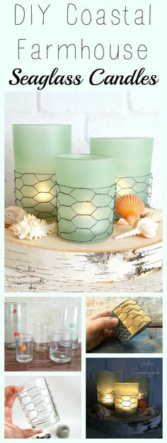 Creating these on-trend coastal farmhouse candles couldn't be easier! Grab some plain glass candle holders from the thrift store some seaglass spray paint and some chicken wire and get your DIY on! So simple to create yet they look gorgeous- perfect for summer beach cottage decor on a budget. Love this easy repurpose upcycle craft project and thrift store makeover from #SadieSeasongoods \/ http://ift.tt/1pB2a3f