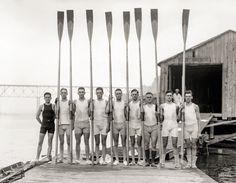 "Summer 1914. ""Penn 2nd varsity crew team in Poughkeepsie."""