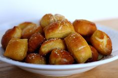 Soft Pretzel Bites Recipe Breads, Lunch and Snacks with warm water, light brown sugar, active dry yeast, unsalted butter, kosher salt, all-purpose flour, water, baking soda, eggs, cold water, sea salt