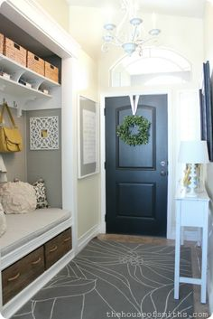 Convert the hallway closet into a mudroom for the entryway