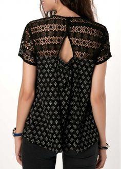 Keyhole Back Short Sleeve Crochet Detail Blouse   liligal.com - USD $32.06