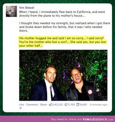 Funny pictures about Vin Diesel On His Friend Paul Walker's Death. Oh, and cool pics about Vin Diesel On His Friend Paul Walker's Death. Also, Vin Diesel On His Friend Paul Walker's Death photos. Fast And Furious, The Furious, Paul Walker Death, Cody Walker, Michelle Rodriguez, Dwayne Johnson, Paul Walker Quotes, Dominic Toretto, Furious Movie