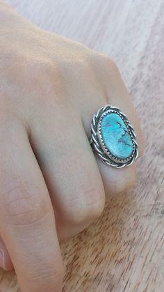 Sleeping Beauty Lady's Southwestern Silver and Turquoise Ring - Size 6 by BlueRoseTurquoise on Etsy