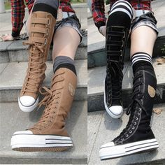 Girls Knee High Sneakers | ... -Ladies-Girls-Lace-Up-Fashion-Knee-High-Canvas-boots-sneakers-shoes
