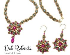 Grand Fleur Necklace and Earring beaded pattern tutorial by Deb Roberti