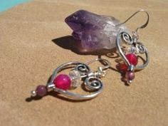 Valentines Day...Amethyst and Crystal Wire wrapped heart earrings by fleurdesignz, $14.00 by traci